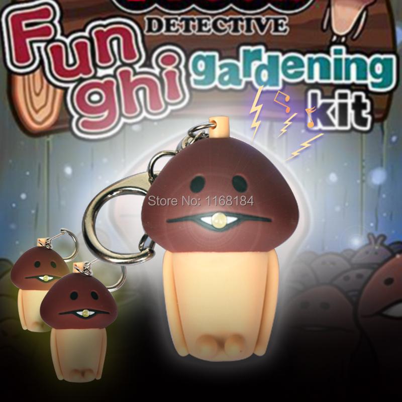 New mushroom LED flashlight key chain gift phone bag pendant ornaments toys Novelty Lighting Emergency Light Holiday(China (Mainland))