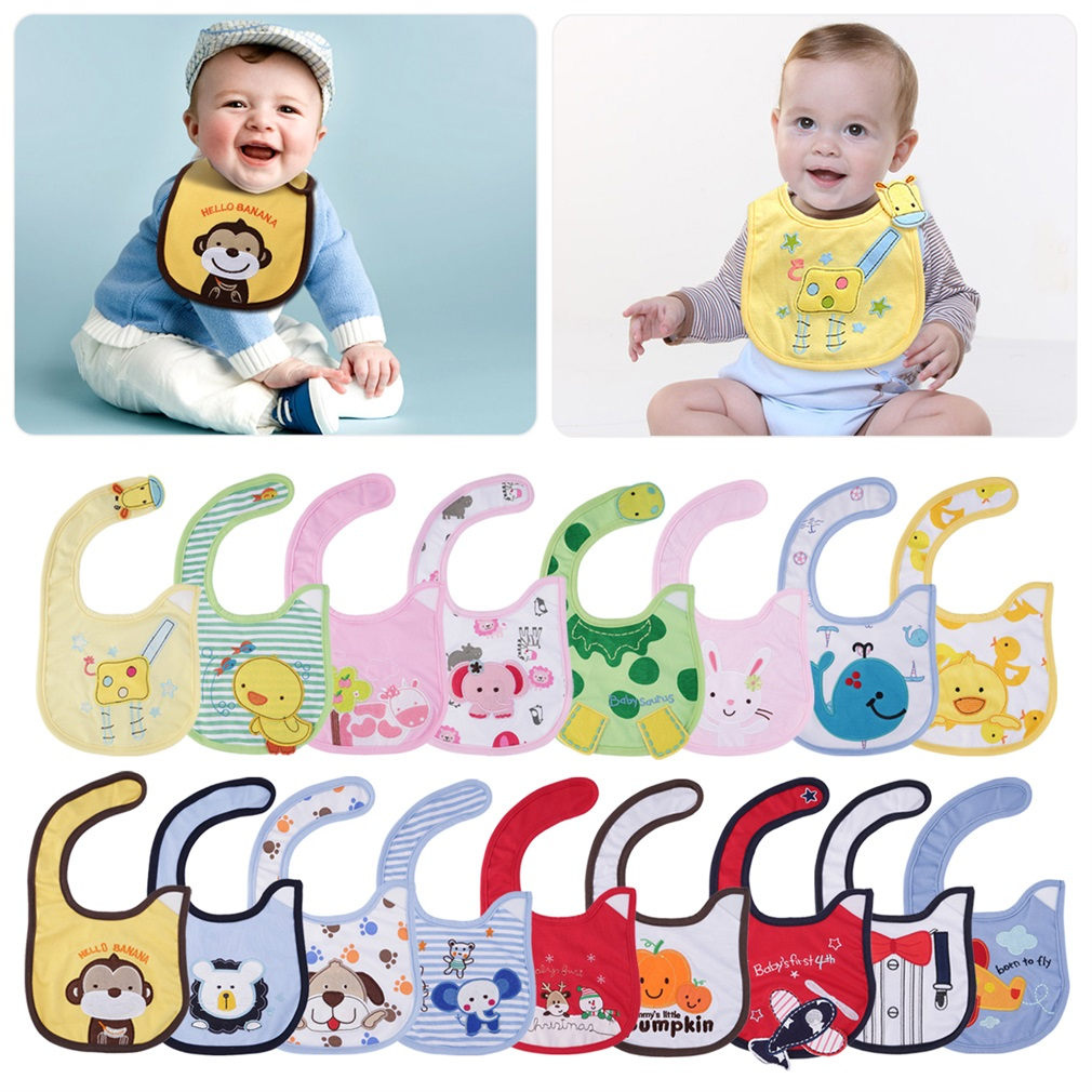 Different Cartoon Patterns Animal 1pc Cute cotton waterproof Baby Boys Girls Kids Children Bibs Saliva Apron(China (Mainland))