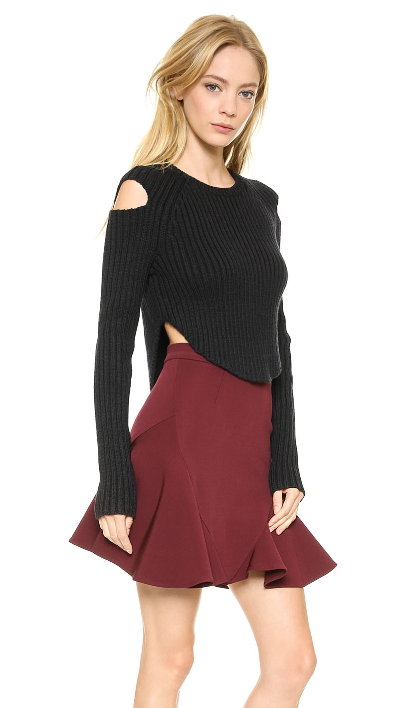 FS2117 Ribbed hem slit strapless curved hollow round neck knit sweater female haoduoyi - Sweet House(Offer Drop Shipping store)