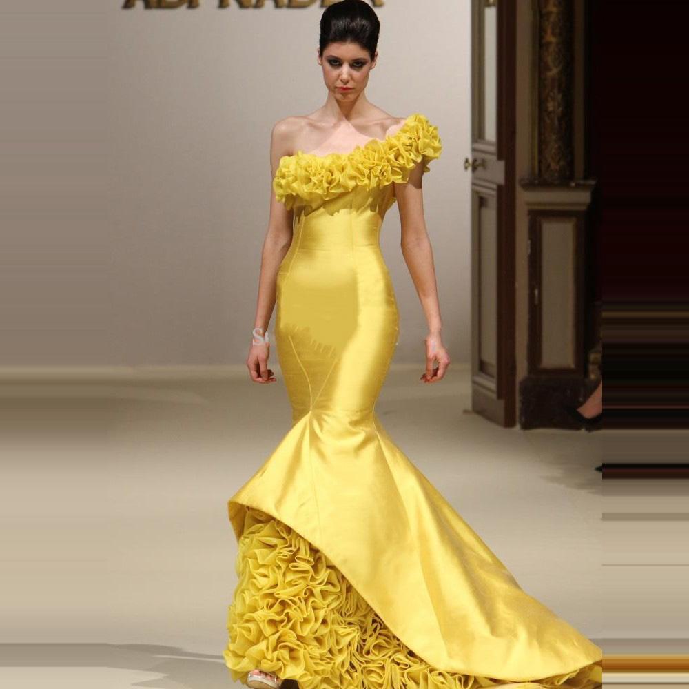 Vestido de partido frisado formal amarelo plissado dos for Boda en jardin vestidos