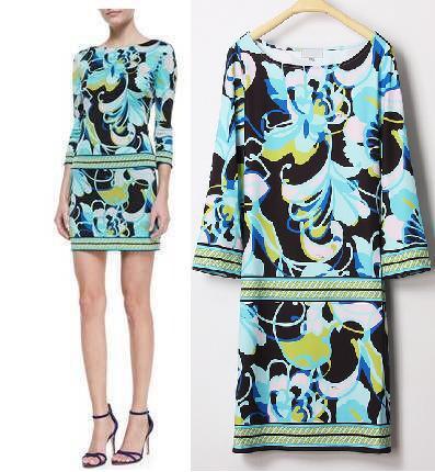 2014 Italian fashion Luxurious Brands Designer Dress Women's Bohemian Blue Printed Stretch Jersey Silk(China (Mainland))