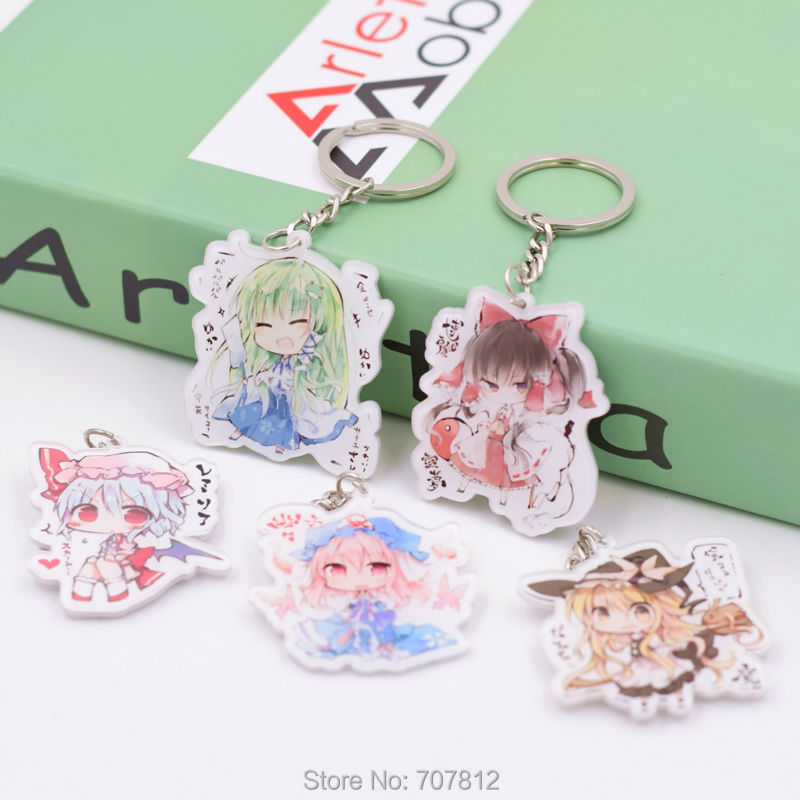 Touhou Project Keychain acrylic Key Buckle Action Figure 5 Styles Pendant Key Accessories DFP002 LTX1(China (Mainland))