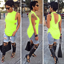 5 colors sleeveless sexy backless Crop Tops 2015 summer style women White O-Neck slim Solid casual irregularity Tops(China (Mainland))