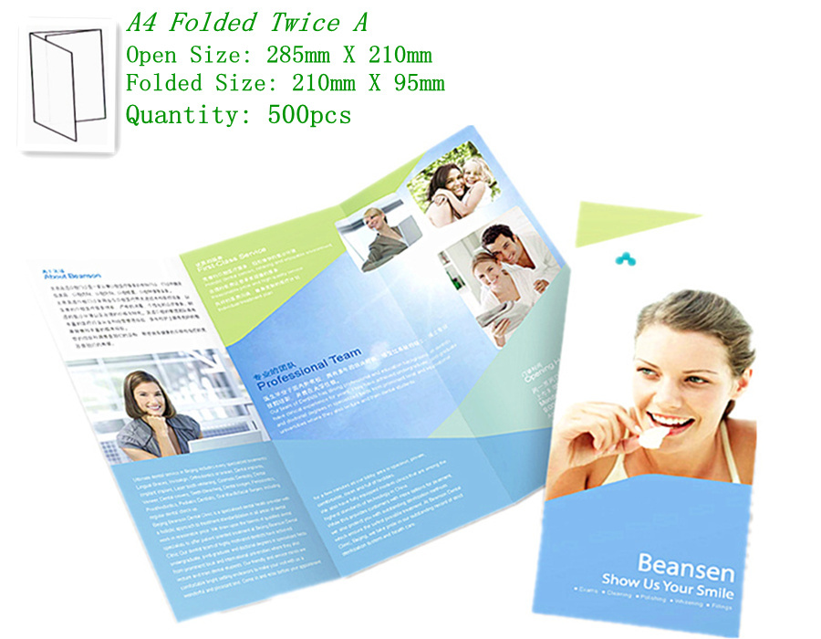 By express 500pcs 157gsm glossy art thick paper full color A4 folded twice brochure leaflet flyers factory printing service(China (Mainland))