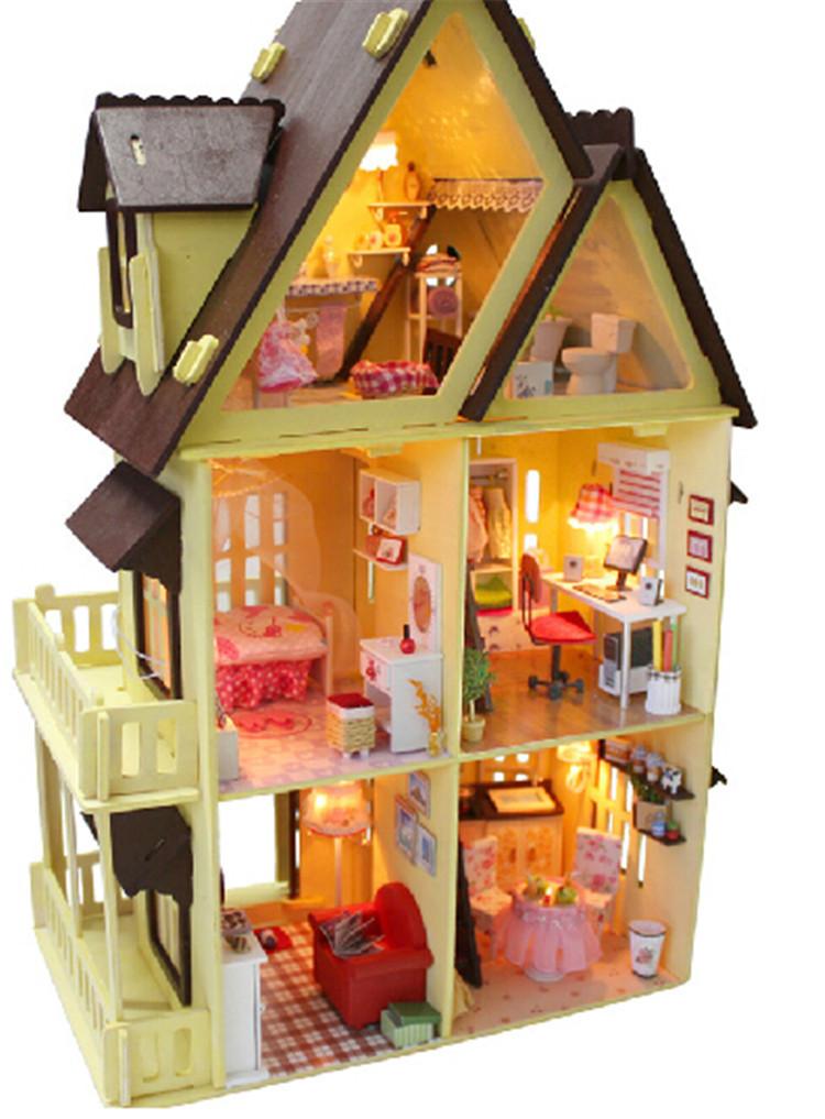 Diy hecho a mano de madera casa de mu ecas en miniatura 1 12 grandes casas de mu ecas casa 3d - Casas en miniatura de madera ...