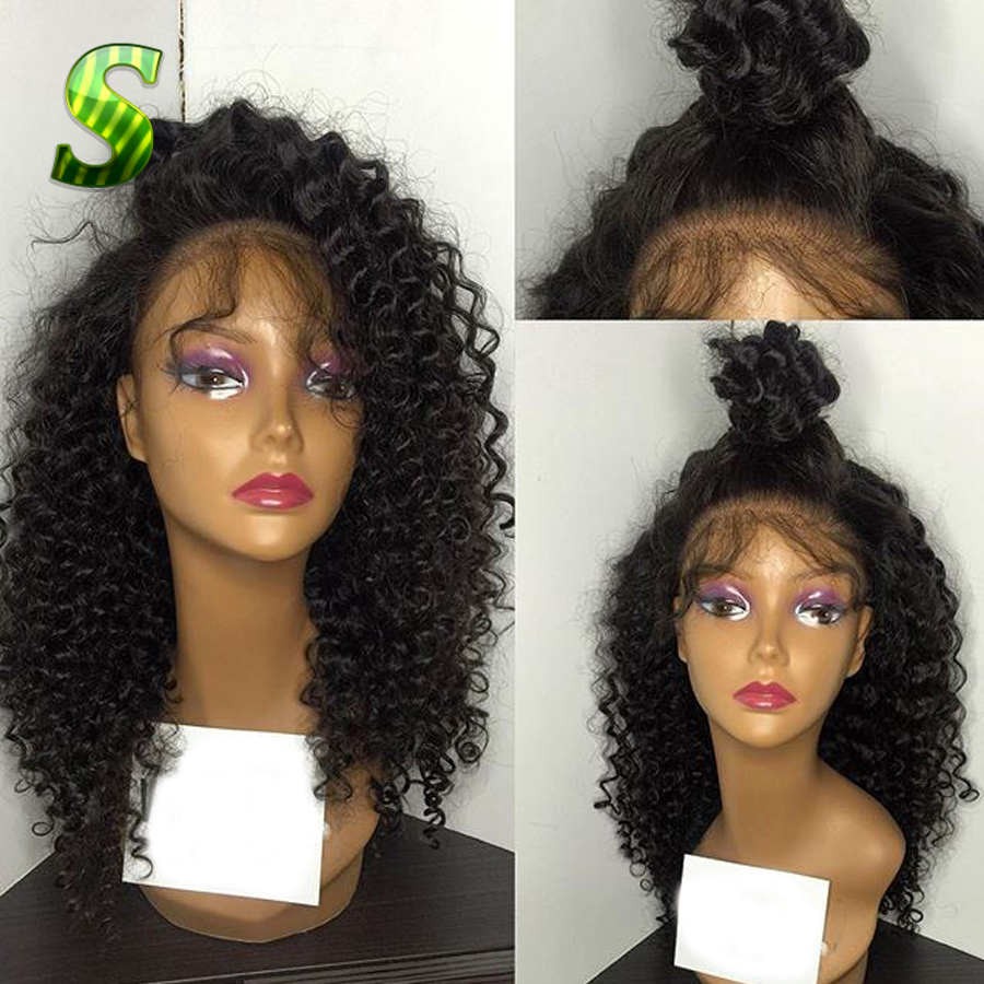 Cheap Brazilian Kinky Curly Human Hair Wigs Glueless Full Lace Wigs With Baby Hair For Black Women Virgin Hair Lace Front Wigs(China (Mainland))