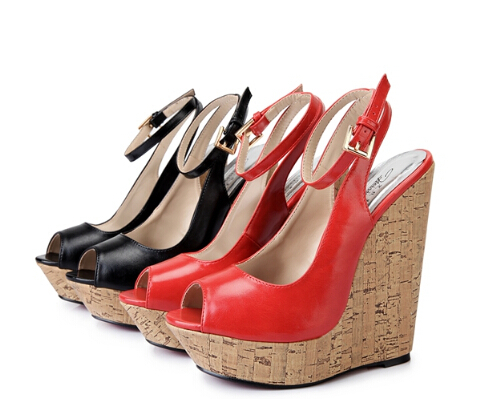 Big:40-45 46 47 Women Ankle Strap Open Toe Sandals Sexy Red Bottom Cross Platforms Pumps 16cm Wedges Woman Brand Wedding Shoes(China (Mainland))