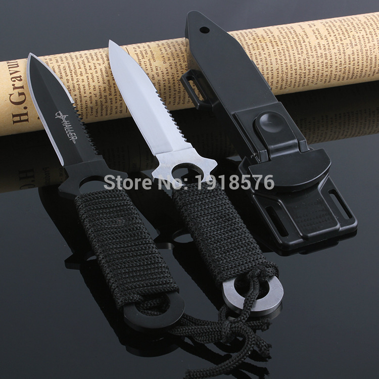 Brand New Military Diving Knife Stainless Steel Blade 440C Leggings Knife, Plastic ABS Sheath, Double Sharpener Stone(China (Mainland))