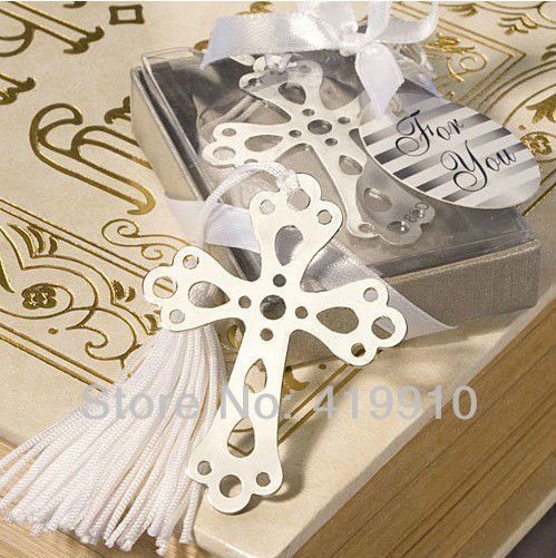 Free shipping Hollow Out Cross Bookmark Favors White-Silk Tassel,Wedding Favor, Baby Shower Gift,Birthday Party Favors M01023(China (Mainland))
