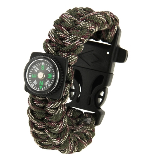 Multi-purpose Outdoor Portable Flint Nylon Braided Survival Bracelets with Compass Whistle Length 25cm Camouflage Good Design(China (Mainland))