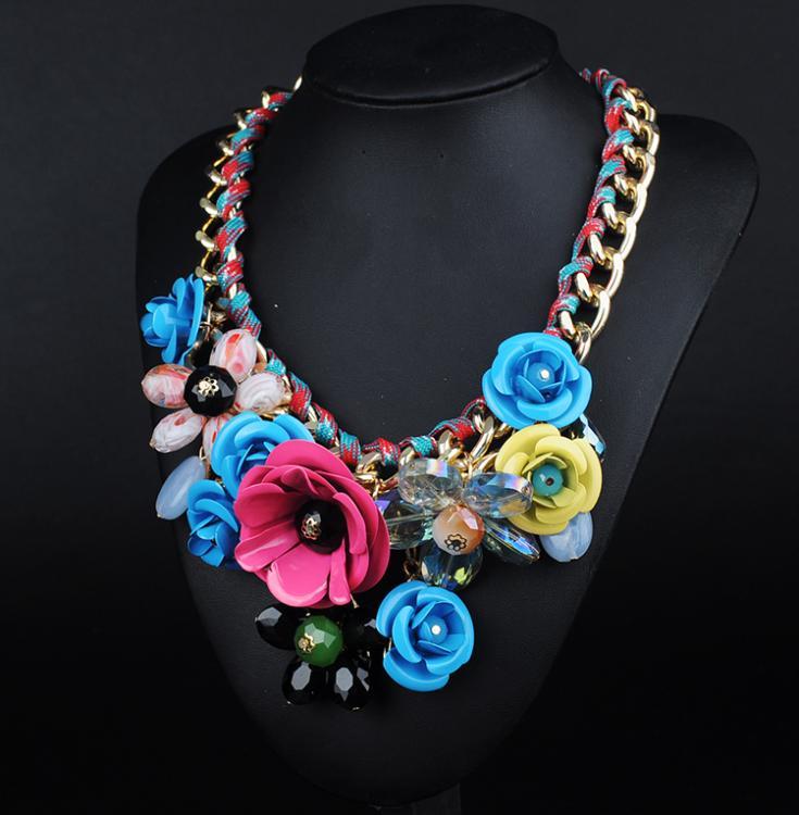 N00143 2016 new Wholesale 12 pcs Gorgeous Necklace Pendants Unique Fashion Rose Flower Alloy Choker Statement