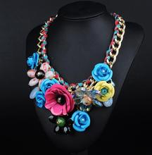 N00143 Wholesale 12 pcs Gorgeous Necklaces & Pendants Unique Fashion Rose Flower Alloy Choker Statement Necklace Jewelry