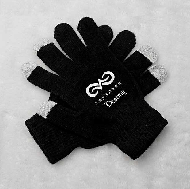 Kpop infinite destiny printing black gloves korean style touch screen winter gloves for men women unisex(China (Mainland))