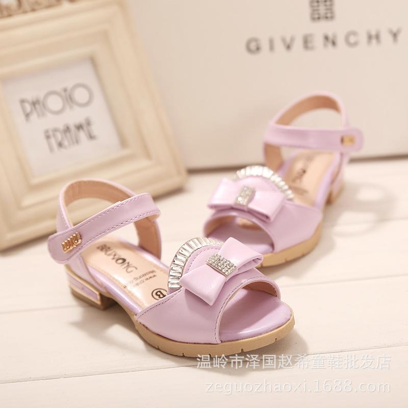 2015 новых детских оптовая продажа горный хрусталь с бантом сандалии корейские летняя обувь