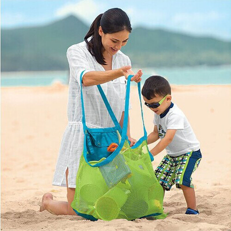 2016 Sand Away Mesh Beach Bag Box Portable Carrying Toys Beach Ball outdoor Picnic Kids accessory organizing storage bag on sale(China (Mainland))