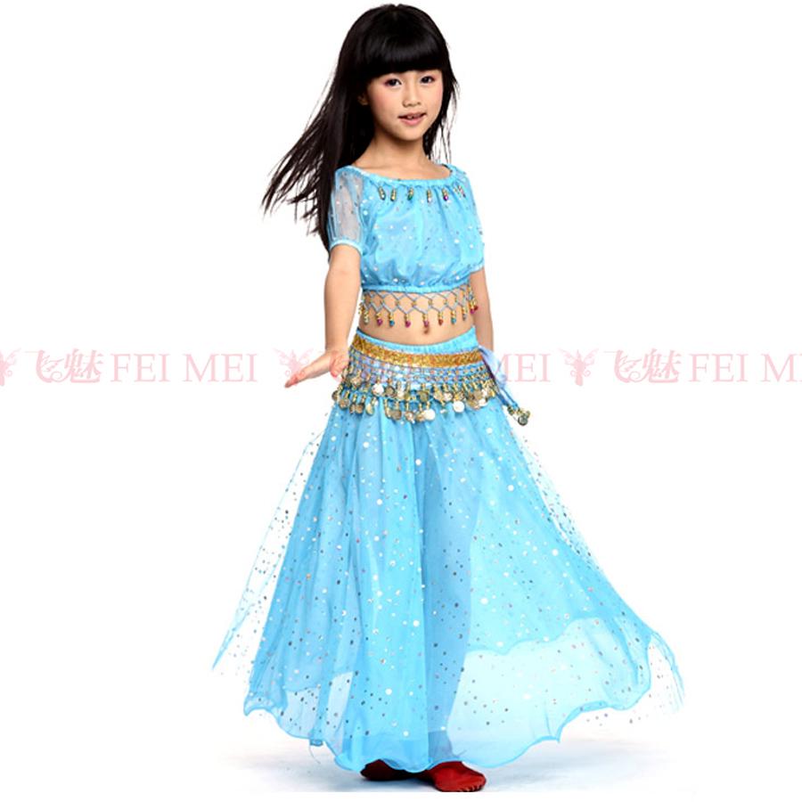 2016 New Belly Dance Children Set 3piece(Top+Dress+Waist Chain) Cummerbund Indian Dance Skirt Costumes Kids Free Shipping(China (Mainland))