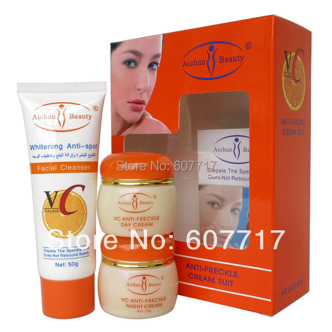 wholesale Aichun VC anti freckle cream suit anti freckle facial cleanser+day cream+night cream whitening cream<br><br>Aliexpress