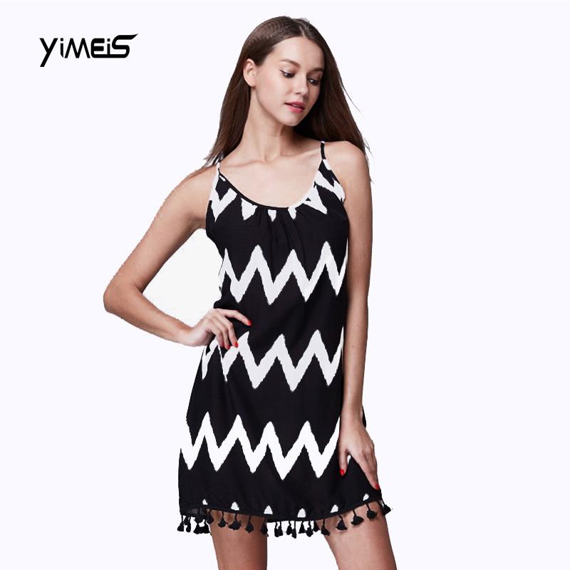 Summer Dress Women 2016 Fashion Mini Sexy Party Tassel Bodycon Polyester Wavy Spaghetti Strap Casual Beach Backless Dresses(China (Mainland))