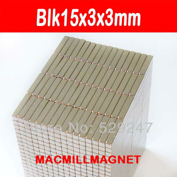 New Rare-earth Neodymium Strong NdFeB Permanent Magnets 100pcs/pack blk15x3x3mm, Free Shipping(China (Mainland))