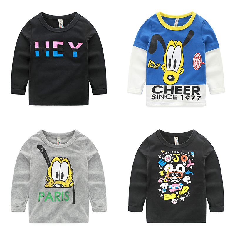 2016 childrens spring clothing boys round neck cotton T-shirt male child top cartoon long-sleeve t shirts<br><br>Aliexpress