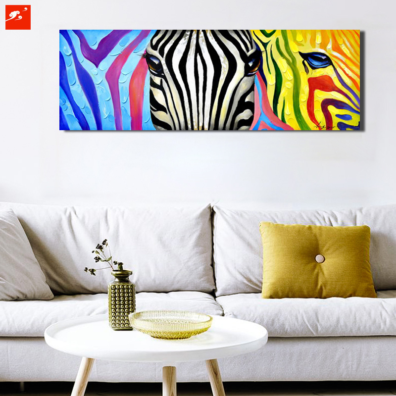 Pop Colourful Animal Wall Art Zebra Canvas Print Oil Painting Poster Home Decor Picture For