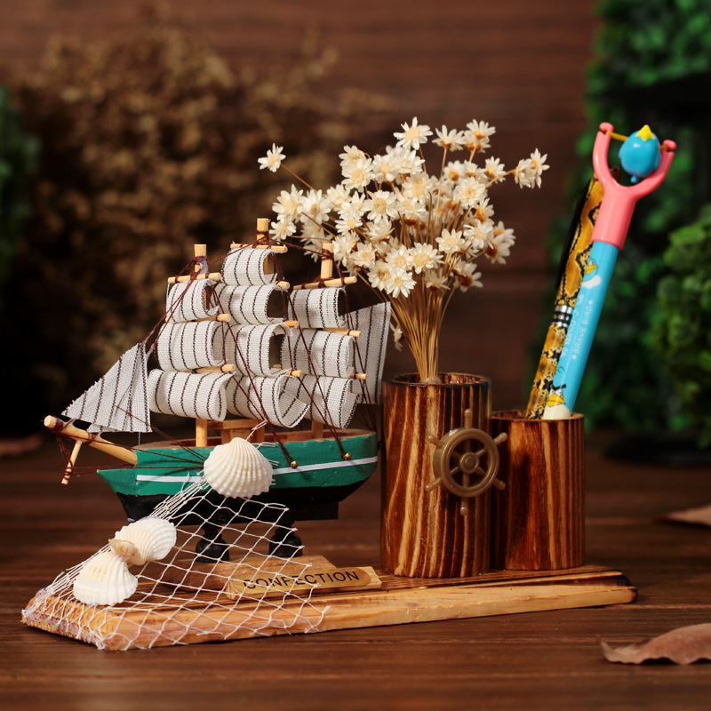 Mediterranean Style Creative Wooden Crafts Creative Sailling Ship Model Pen Container Slap-up Office Desk Ornaments Home Decor(China (Mainland))