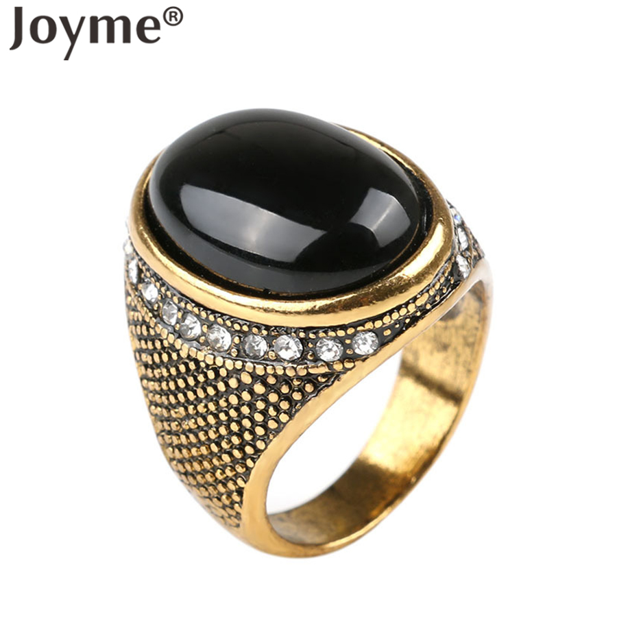 New 2016 Wholesale Punk Oval Gold Smart Antique Men Ring Black Jewelry Bijoux Bague Resin Turquoise Cheap Rings(China (Mainland))