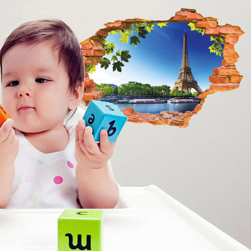 Creative Home Decor 3D Wall Sticker Broken Wall Style Clear Sky Eiffel Tower Pattern For Kids Room 60*90 CM