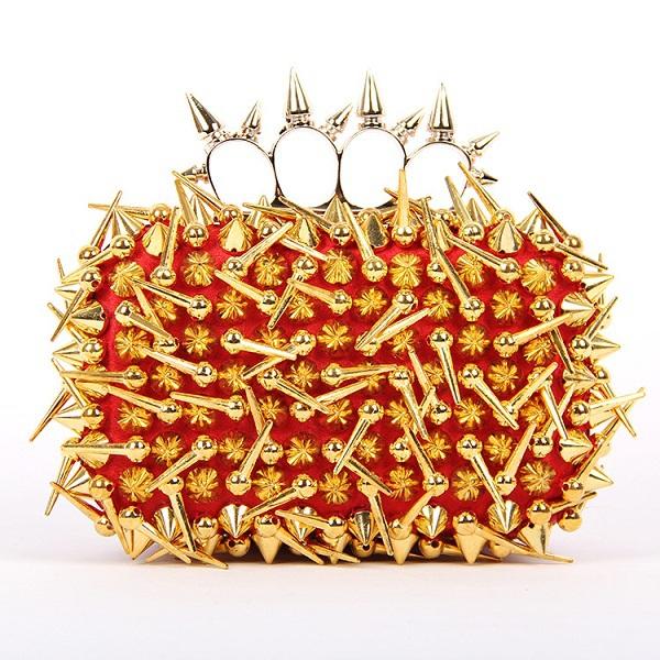 Good Quality Silver Rivet Clutch Evening Bag Full Irregular Rivets Sling bag banquet orange bags, Purse ER699(China (Mainland))