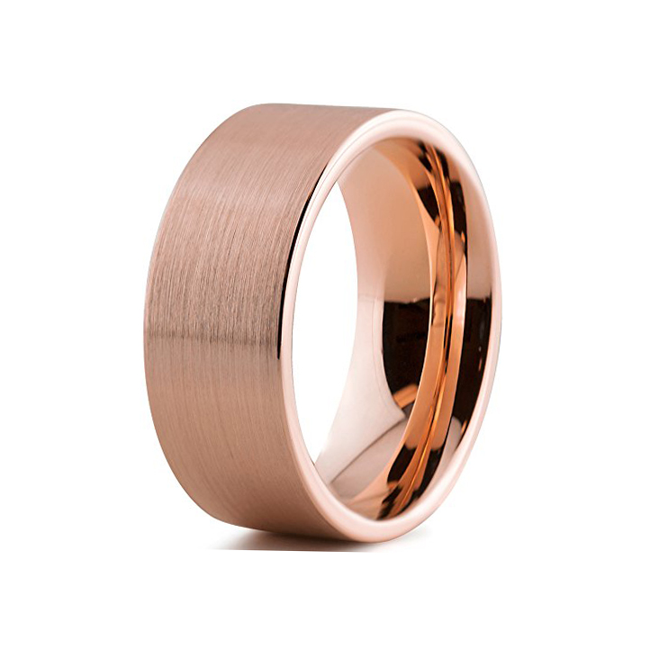 12mm rose gold tungsten ring cool men ring flat band ring with brushed finish(China (Mainland))