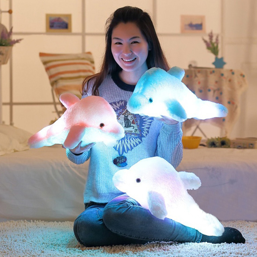 1pcs 45cm Dolphin PLush Luminous Plush Glowing Dolphin Doll Colorful Pillow, Plush Toys, Hot Colorful Doll Kids Children Gifts