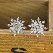 Full Rhinestone Snowflake Stud Hoa Tai Vàng Màu Bạc Tinh Thể May Mắn Tuyết Zircon Flower Earring Cho Phụ Nữ Đồ Trang Sức Thời Trang(China)
