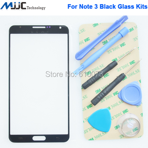 Black glass note 3 glass for samsung galaxy note 3 front glass N900 N900A N900T glass touch screen lens free tools sticker