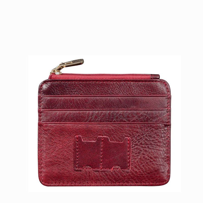 genuine leather credit card holder leather ID bank holder porta carte di credito with zipper pocket(China (Mainland))