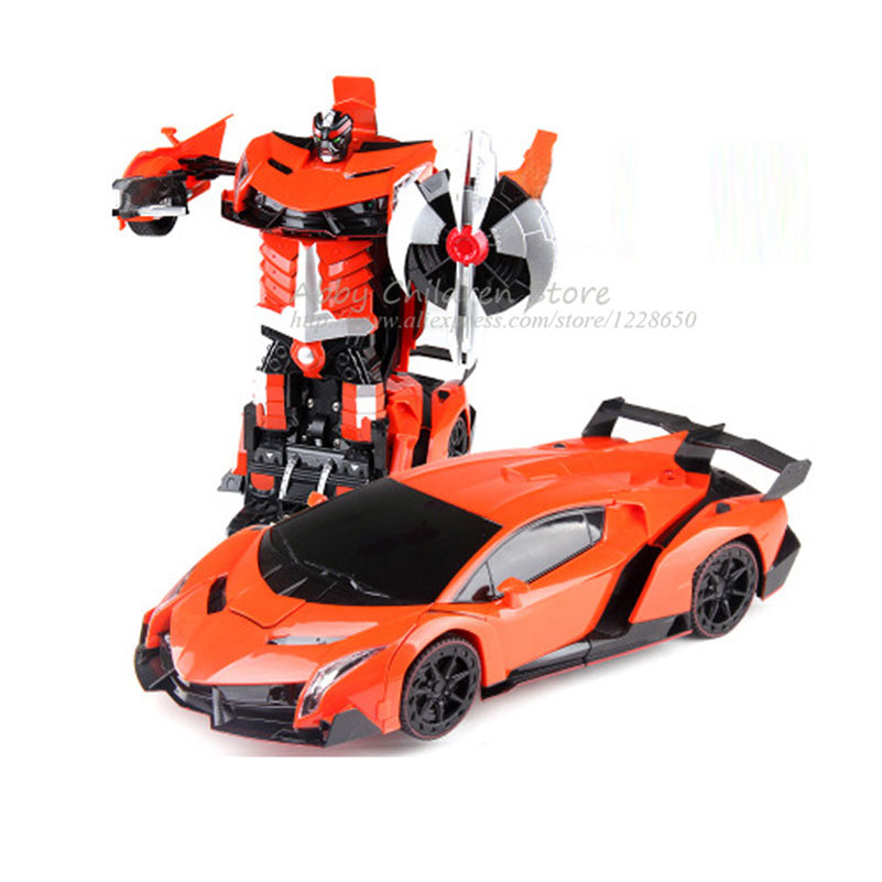 Remote Control Cars Transformation RC Robots Transform Toy Light Sound Dance Electric Car Models Boy Birthday Gift Action Toy(China (Mainland))