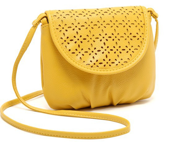 Summer Lemon yellow hollow-out lady small bag for Cell phone wallet bag handbag shoulder messenger bag(China (Mainland))