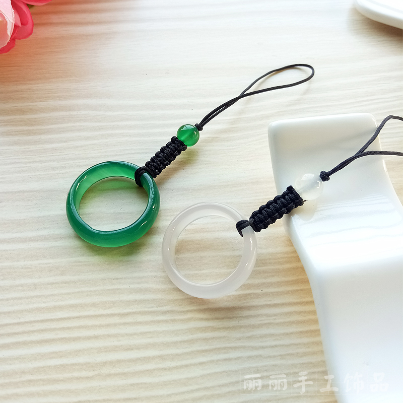 Handmade Natural Green Agate White Agate Strap Mobile Phone Strap USB Pendant Mobile Phone Strap Lanyard Pendant(China (Mainland))