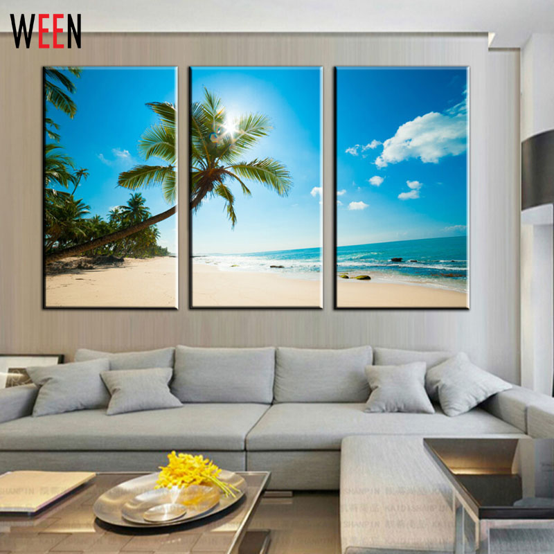 Unframed 3 Panels Wall Decor Painting Canvas Printing Beautiful Beaches Modern Home Art Printing Painting Schilderij