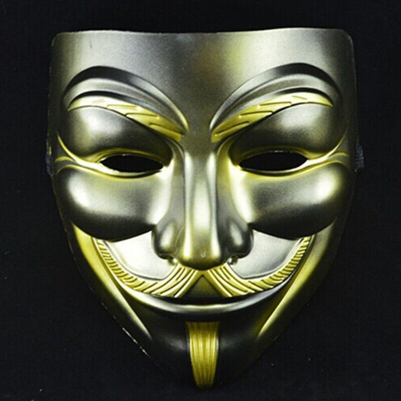 Sale V Mask Gold Beard Vendetta Anonymous Movie Guy Fawkes Cosplay Halloween Party - Caly Tao's store