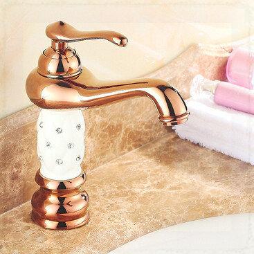 Rose Gold Diamond White Ceramic Luxury Lantern Brass Bathroom Vanity Sink / Basin / Torneira Faucets Mixers & Taps (UP-1314S) wa(China (Mainland))