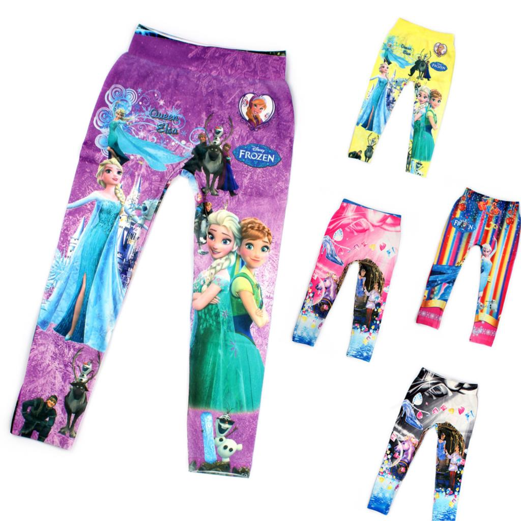 5-10 Y Girls Anna Cartoon Print Leggings Pantyhose Underpants Kids Girl Pants Printing Flower Elsa Kristoff Olaf legging(China (Mainland))