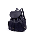 Black Daypack Practical Bckpack Belt Buckle Pockets Drawstring Bag Women Solid Color Fashion Casual Schoolbag Packsack