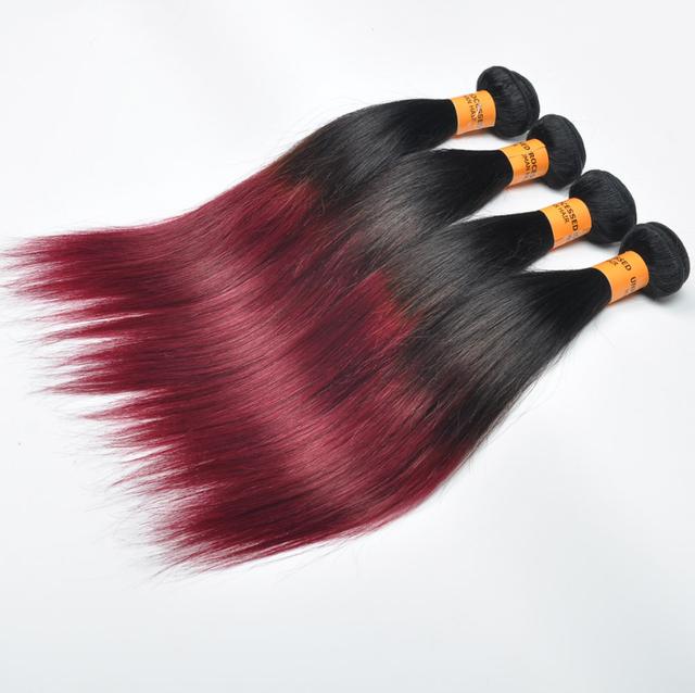 Ombre черный красный волос 1b/burg шелк прямо 3 шт. за лот fedex/ups бесплатная доставка