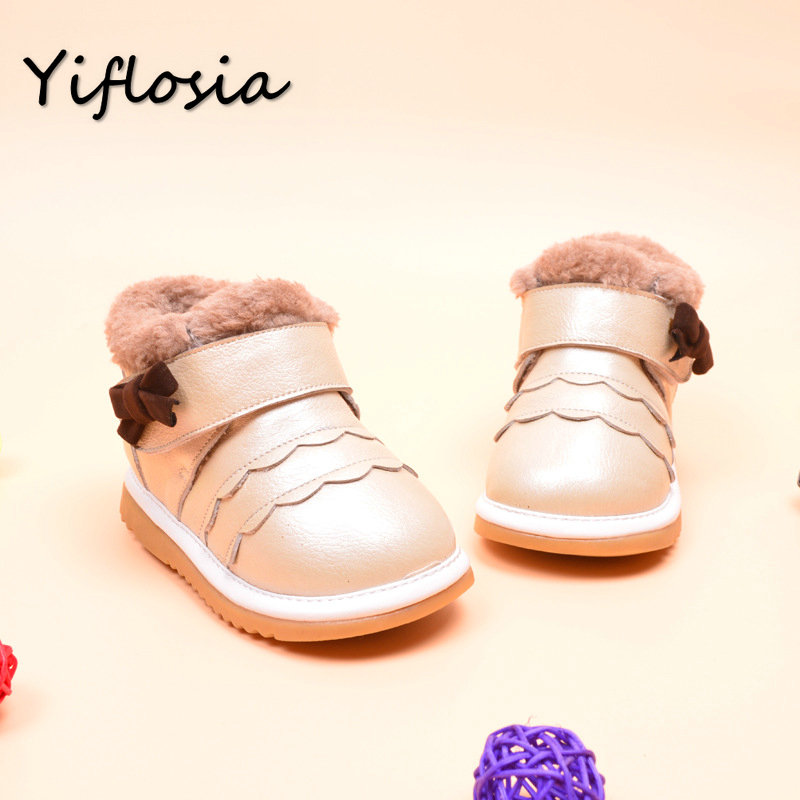 Girls Baby Shoes Kids Boots Girls Infants Warm Genuine Leather Children Shoes Winter Boots Kids Boots with Fur Size11.5-15cm(China (Mainland))