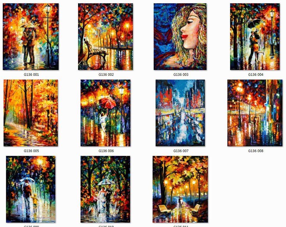 Buy 2016 Home Decor Rushed Top Quality Wall Art Knife Oil Painting Romantic Night Lover Under The Umbrella free Shipping cheap