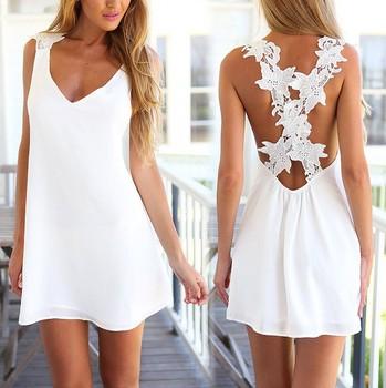 2015 Большой размер сексуальные женщины белый отпечатано v-образным вырезом без рукавов шифон цветочные кружева платья свободного покроя летний пляж мини-платье свадебные платья