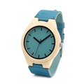 Bamboo wood watch blue causal watch genuine leather bamboo wooden quartz watches for men women best