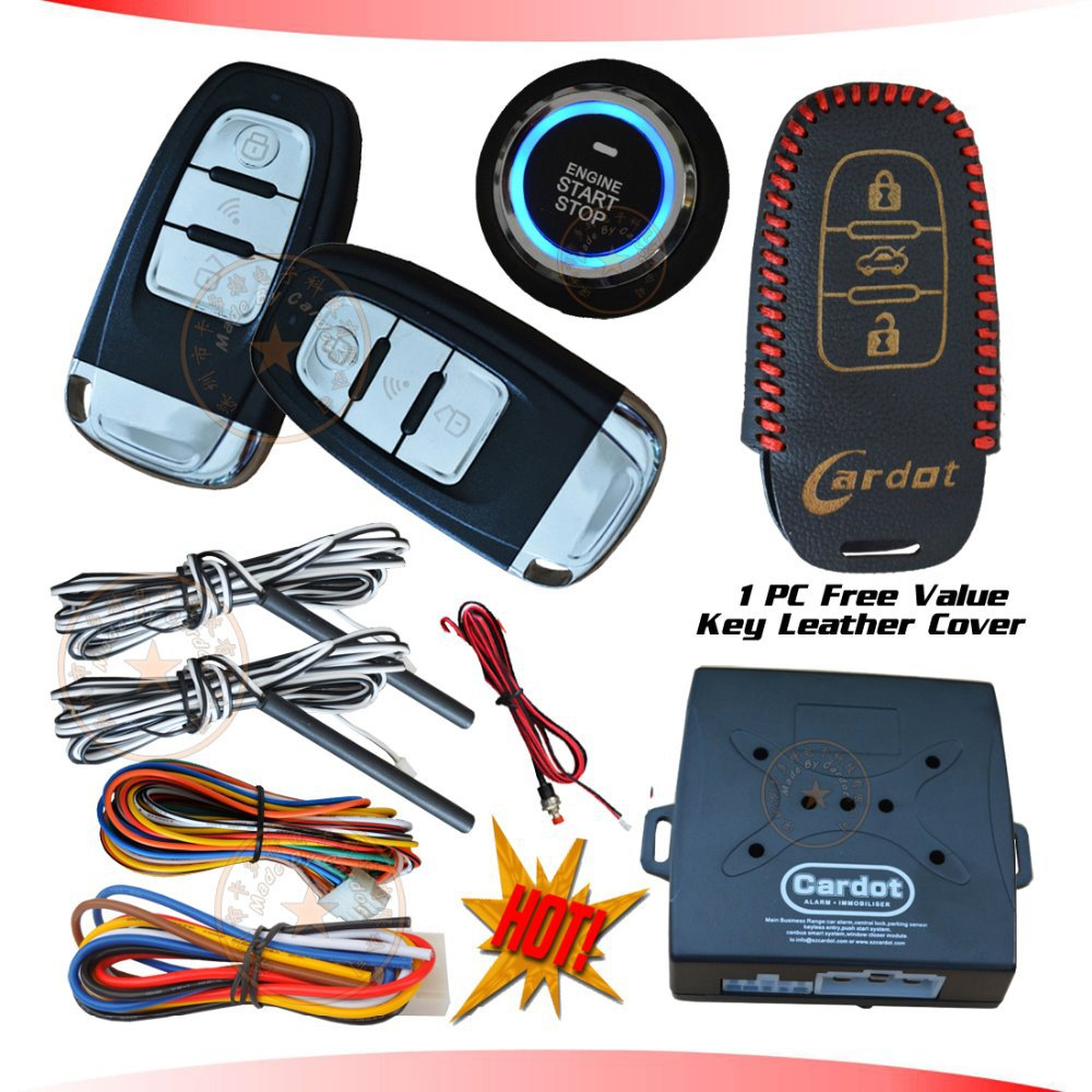 cardot new PKE car alarm system with ignition start stop feature remote engine start stop auto central lock(China (Mainland))