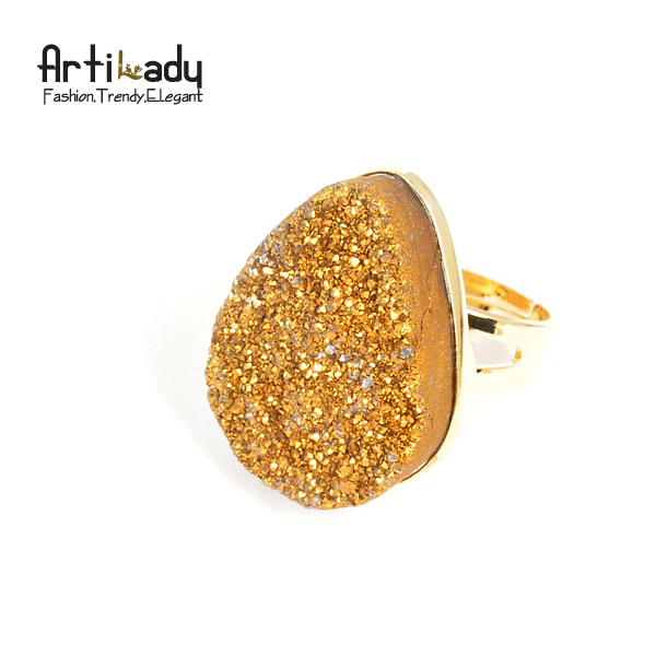 Artilady druzzy stone adjustable ring drusy 14k gold natrual statement ring party jewelry