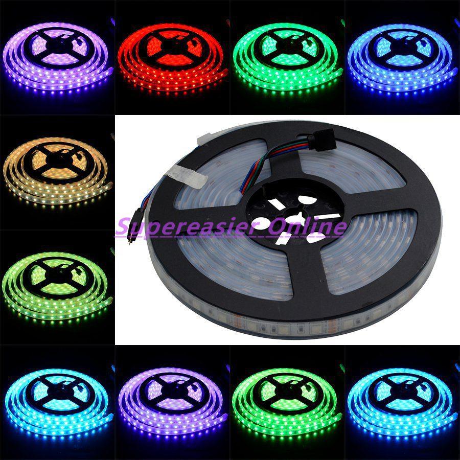Flexible LED Strip RGB Colors Lighting SMD 5050 5M/roll DC12V 60LEDs/m LEDs Car Lights Waterproof IP66 100M Wholesale #10354(China (Mainland))